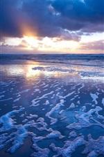Preview iPhone wallpaper Sunset blue ocean, waves, foam
