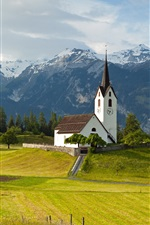 Preview iPhone wallpaper Switzerland, Alps, mountains, grass, trees, church, sky, clouds