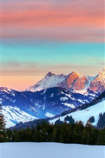 Preview iPhone wallpaper Switzerland, the Alps, winter, red sky, clouds, snow, forest