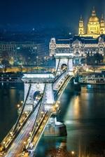 Preview iPhone wallpaper Szechenyi Chain Bridge, Budapest, Hungary, the Danube river, city night, lights