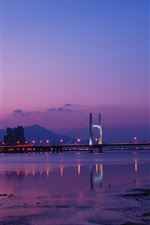 Preview iPhone wallpaper Taiwan, Taipei, city night, bridge, lights, river, purple sky