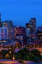 Preview iPhone wallpaper USA, Denver, Colorado, buildings, skyline, night, lights