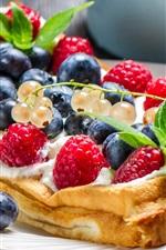 Preview iPhone wallpaper Waffles, fruits, food, cream, dessert, red raspberries, blueberries