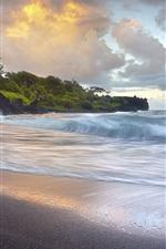 Preview iPhone wallpaper Waves crashing, black sand beach, Hawaii