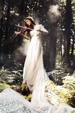 White dress music girl, play violin in the forest