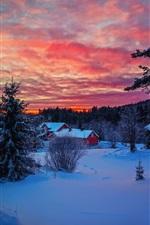 iPhone обои Зимний вечер закат, небо, облака, снег, лес, дом