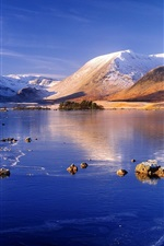Preview iPhone wallpaper Winter, mountain, lake, snow, ice, blue sky