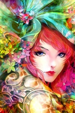 Preview iPhone wallpaper Art painting, girl, eyes, face, flowers, red hair, colorful
