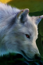 Preview iPhone wallpaper Art painting, white wolf, wings