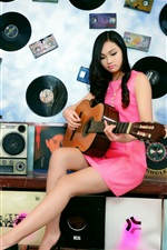 Preview iPhone wallpaper Asian girl, guitar, music, disc, room