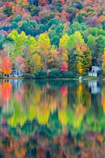 Autumn beautiful landscape, forest, house, lake, reflection