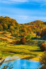 Preview iPhone wallpaper Autumn scenery, hills, forest, lake, house
