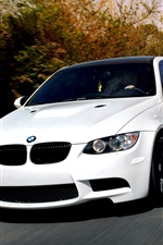 Preview iPhone wallpaper BMW M3 E92 white car on the road