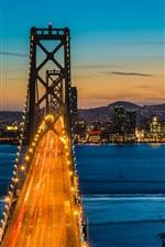 Bay Bridge, Oakland, San Francisco, California, USA, night, city lights