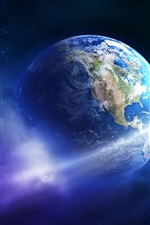 Preview iPhone wallpaper Beautiful Earth, planet, asteroid, comet