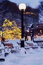 Preview iPhone wallpaper City, night, winter, snow, bench, garden, lights
