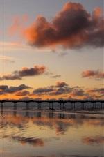 Preview iPhone wallpaper Coast landscape, bridge, sand, sea, sunset, red sky