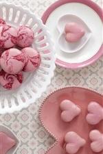 Preview iPhone wallpaper Cookies, macaroon, sweet food, dessert, love hearts, pink