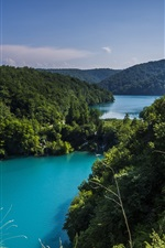 Preview iPhone wallpaper Croatia, Plitvice lakes national park, trees, greenery, nature landscape