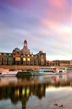 Preview iPhone wallpaper Dresden, Germany, morning, city, buildings, harbor, boats, Elbe river