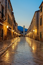 Preview iPhone wallpaper Dubrovnik, Croatia, sunrise, footpath, lights, house