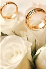 Preview iPhone wallpaper Engagement rings, roses, white flower buds