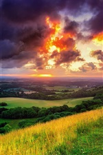 Preview iPhone wallpaper England, West Sussex, village of Hassocks, nature, morning, sunrise, clouds