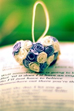 Preview iPhone wallpaper Flowers heart, pendant, book
