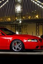 Preview iPhone wallpaper Ford Mustang Cobra supercar, night, bridge