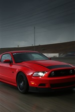Ford Mustang RTR red supercar, highway, speed, rain