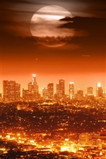 Preview iPhone wallpaper Full moon, USA, Los Angeles, night, city, lights, cityscapes, red style