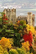 Italy, Castle, city, fall, trees