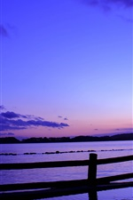 Preview iPhone wallpaper Japan, sea, fence, evening, sunset, blue, lilac sky