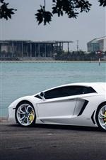 Lamborghini Aventador white supercar at riverside