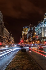 Preview iPhone wallpaper Madrid, Spain, city, night, buildings, road, lights