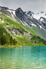 Preview iPhone wallpaper Mountains, lake, forest, peaks, snow, nature scenery