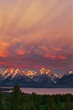 Preview iPhone wallpaper National Park Grand Teton, Wyoming, sunrise, mountains, red sky, lake