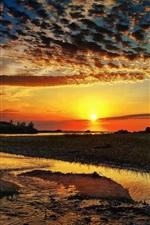 Preview iPhone wallpaper Nature, clouds, river, sun, sunrise