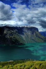 Preview iPhone wallpaper Norway, river, rock mountains, snow, clouds, small town