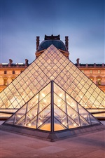 Preview iPhone wallpaper Paris, France, Louvre, city, lights, night, pyramid