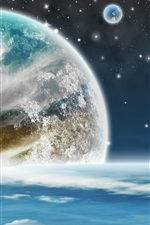 Preview iPhone wallpaper Planets, magic space, stars