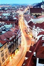 Prague, city, houses, buildings, night, road, light