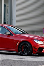 Preview iPhone wallpaper Red Mercedes-Benz C63 AMG coupe