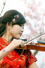Preview iPhone wallpaper Red cheongsam girl play violin