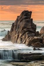 iPhone обои Скалы, море, побережье, закат