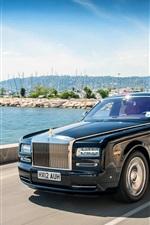Preview iPhone wallpaper Rolls Royce black luxury car in speed