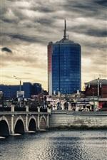 Preview iPhone wallpaper Russia, the Urals, Chelyabinsk city, bridge, river, buildings