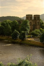 Preview iPhone wallpaper Scotland, Great Britain, St Andrews Cathedral, the River Ness, trees