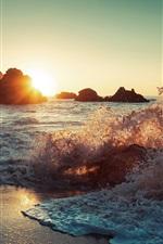 Preview iPhone wallpaper Sea waves, spray, beach, rocks, sun