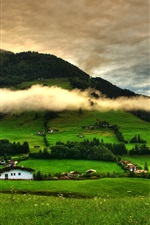 Preview iPhone wallpaper Spring landscape, grass, trees, green, mountains, clouds, houses